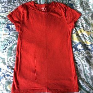 J. Crew red 100% cotton round neck T-shirt Sz XS